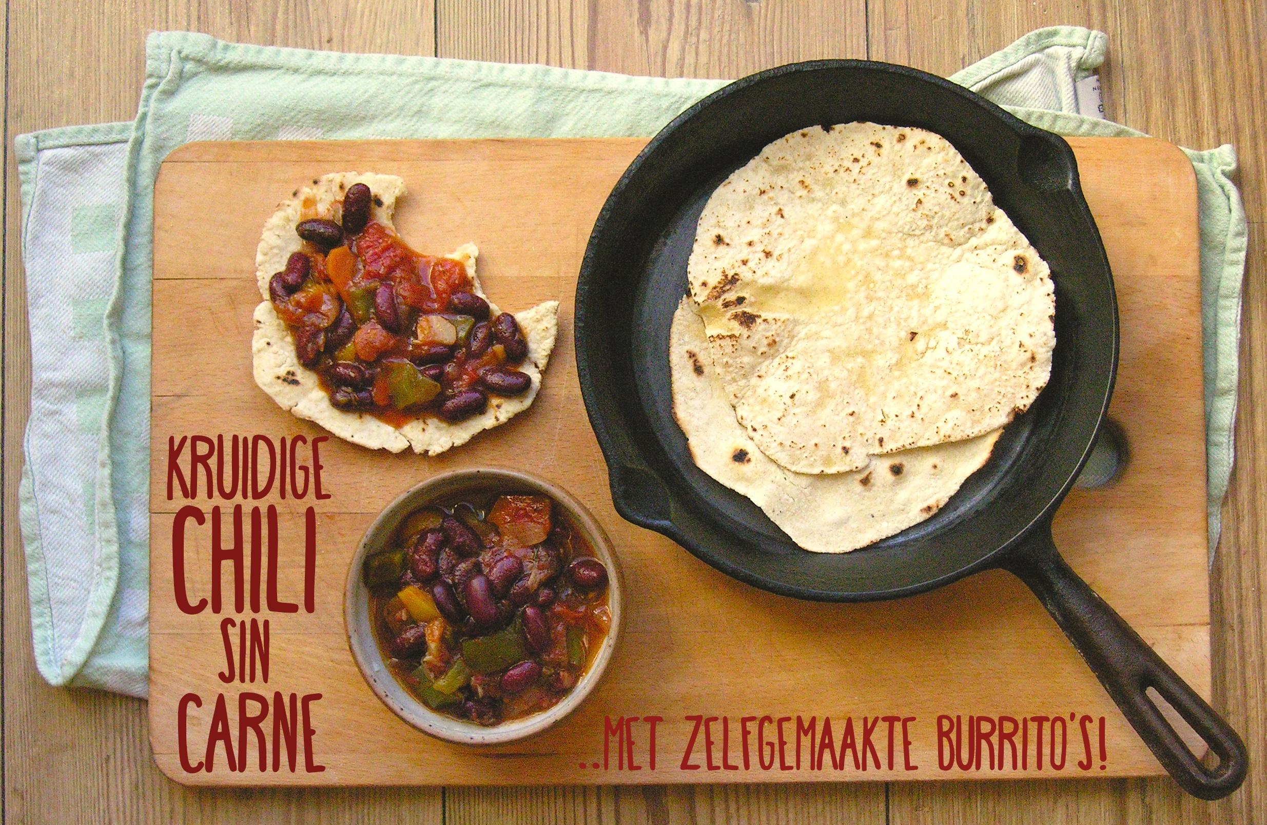 Chili sin carne met zelfgemaakte glutenvrije burrito's