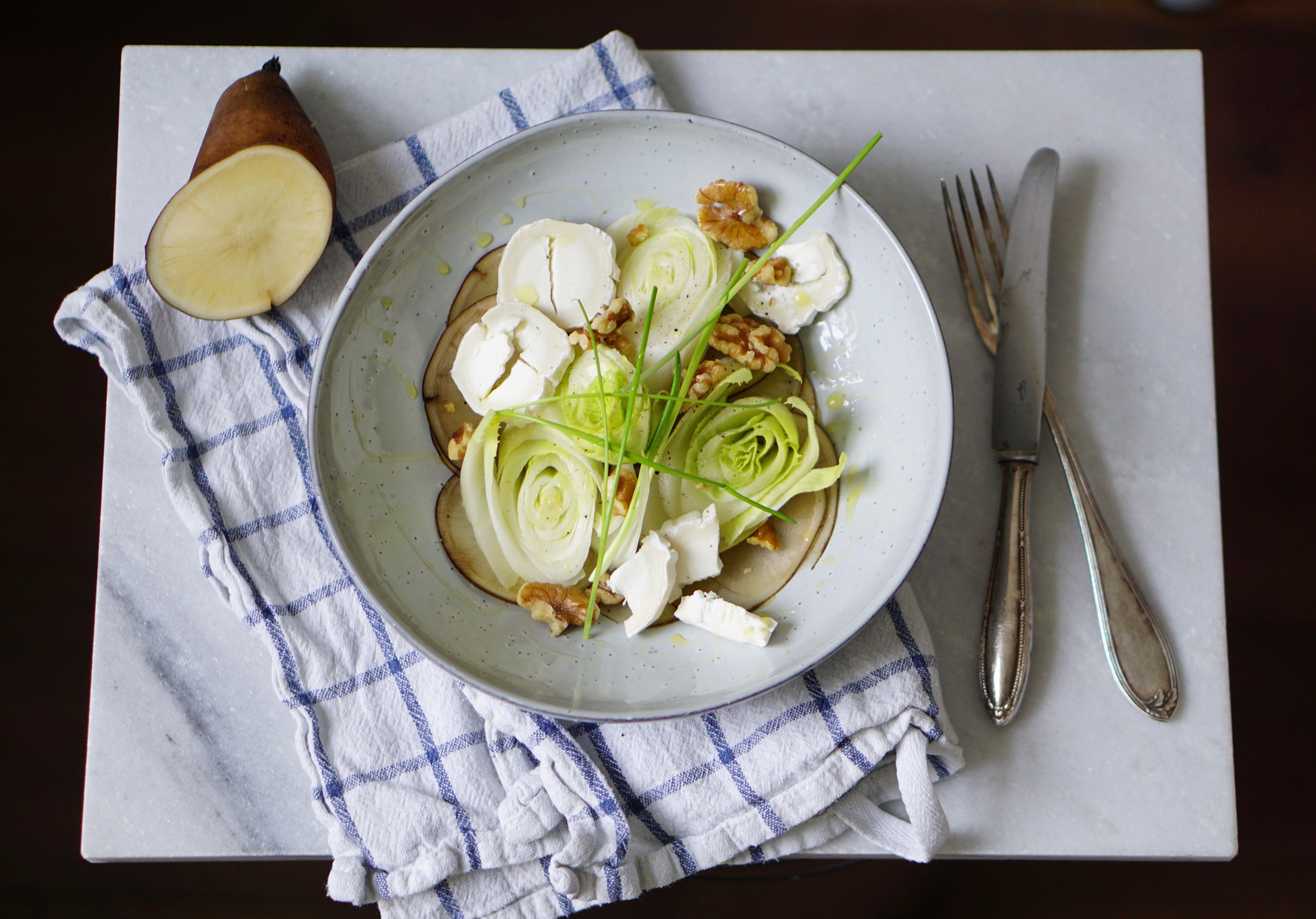 Lof & Yacon | witlof salade met geitenkaas walnoten en yacon