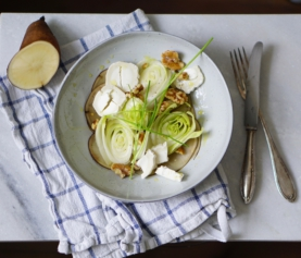 Lof & Yacon | witlof salade met geitenkaas, walnoten en yacon