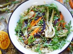 BULGURSALADE | met geroosterde venkel, wortel en rode ui