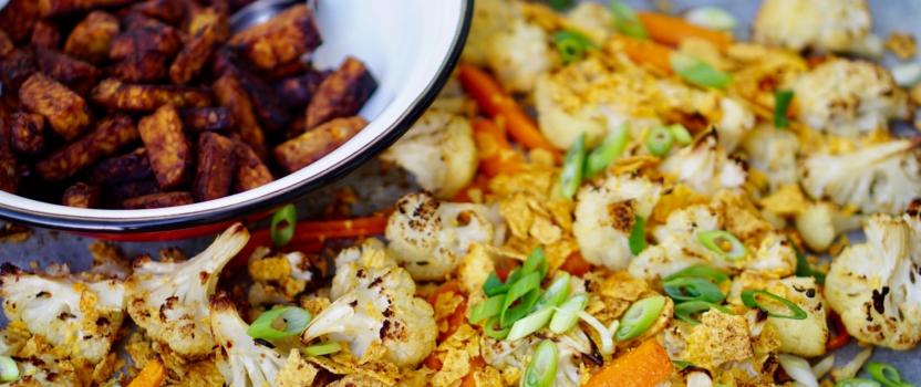 CRUNCHY CAULI | bloemkool uit de oven met knapperige nacho topping
