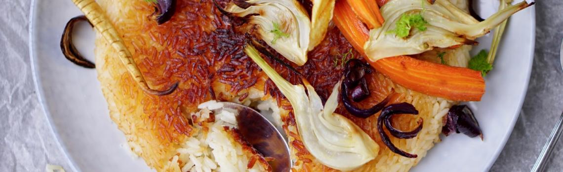 TAH DIG   Iraanse rijst met geroosterde wintergroente